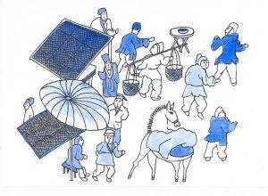 """""""Scène de Marché"""", illustration de Delphine Ciolek"""